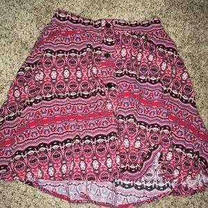 Red patterned skirt
